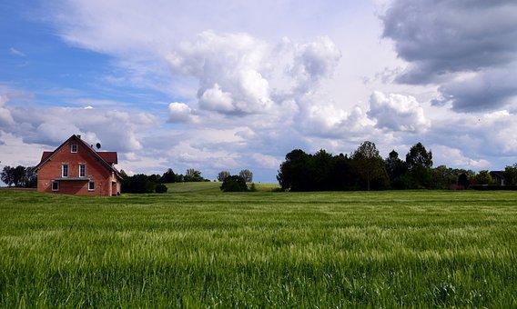 Landscape, Bavaria, Nature, Sky, Clouds, Germany, Grass
