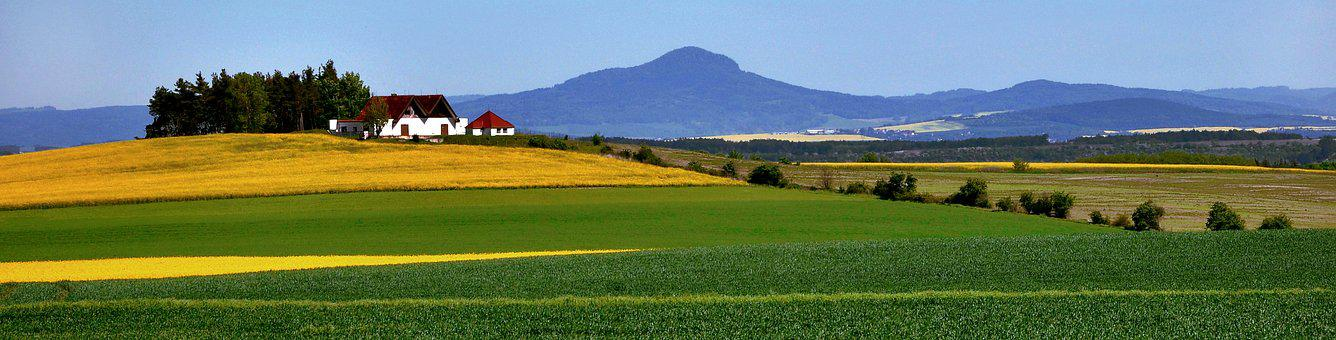 Landscape, Rapeseed, Czech Republic, Mountains, House