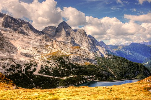 Dolomites, Marmolada, Mountains, Reservoir, Landscape