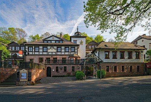 Castle Hotel, Mespelbrunn, Bavaria, Germany, Spessart