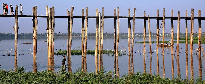 Bridge, Wooden, Wood, Mandalay, Myanmar, Landmark