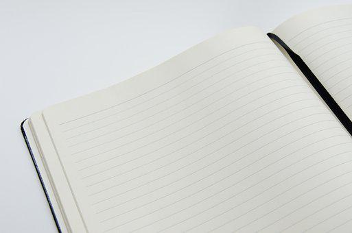 Notebook, Open Book, Open, Paper, Book, Page, White