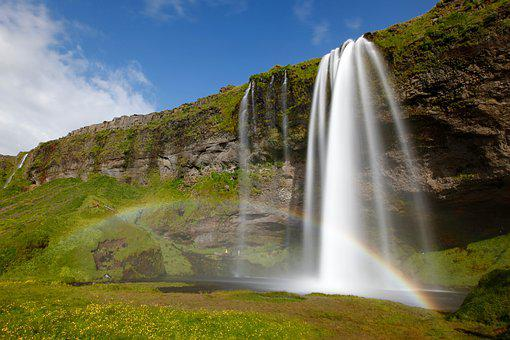 Waterfall, Iceland, Rainbow, Nature, Water, Cataract