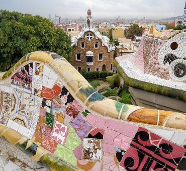 Barcelona, Gaudí, Garden Gaudí, Mosaic, Spain