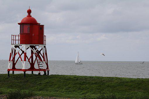 Beacon, Stavoren, Netherlands, Port, Coast, Water