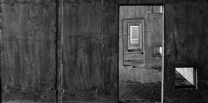 Door, Black White, Window, Abandoned