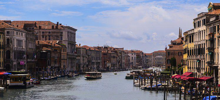 River, Homes, Building, Ships, Boot, Water, Sky, Venice