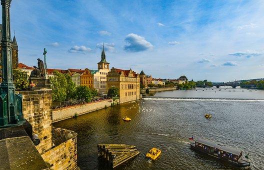 Prague, Relaxing, Bridge, Czech, Republic, Vltava
