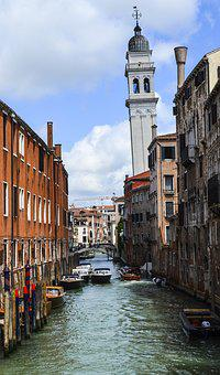 River, Channel, Homes, Water, Boats, Ships, Venice