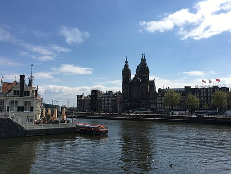 Amsterdam, River, Canal, Church, Netherlands, Europe