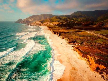 California, Sea, Ocean, Waves, Coastline, Mountains