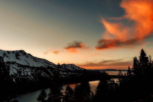 Mountains, Landscape, Sky, Clouds, Sunset, Dusk, Forest