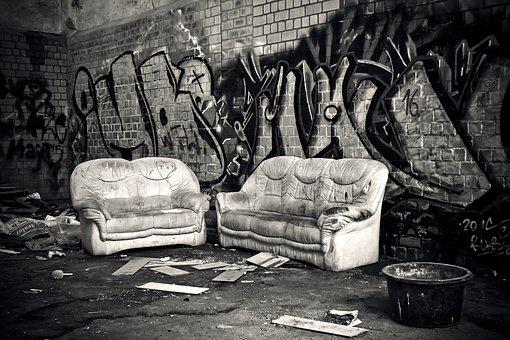 Lost Places, Rooms, Sofa, Chair, Furniture, Leave