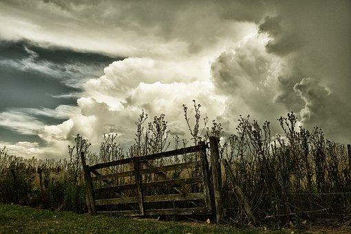 Gate, Clouds, Field, Storm