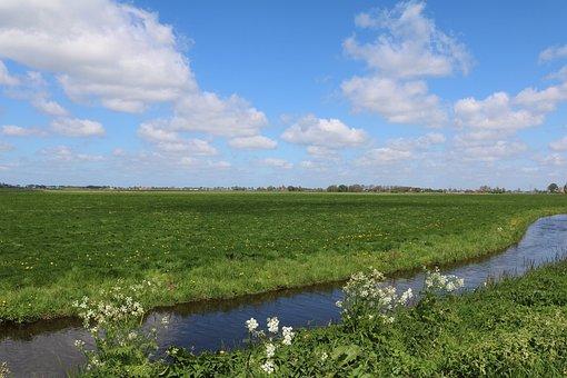 Channel, Holland, Netherlands, Meadow, Wide, Sky, Water