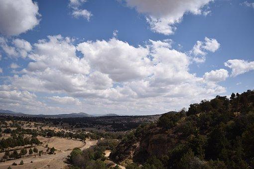 Sky, Clouds, Mexico, Field, Plants, Landscape, Blue