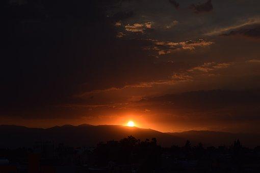 Sunset, Sun, Sky, Nature, Landscape, Mountain, Orange