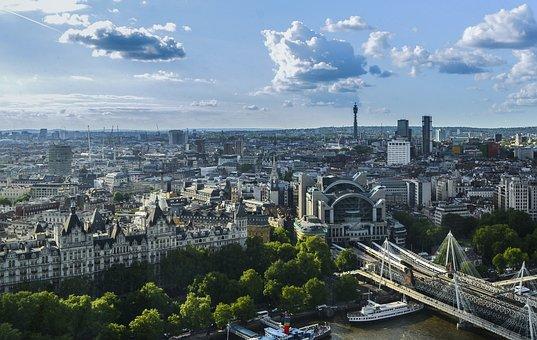 City, Skyline, London, Homes, Building, Bridge, River