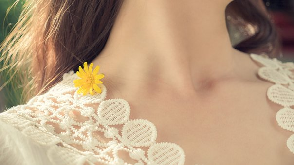 Yellow, Flower, Girl, Spring, Neck, Yellow Flowers