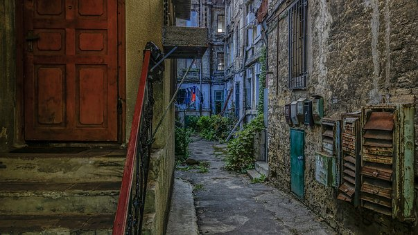 Odessa, Door, Railing, Wall, Boxes