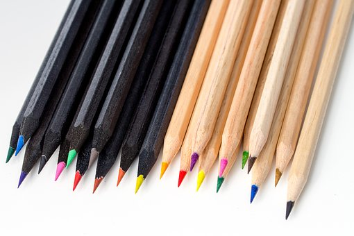 Pencil, Pencils, Color, Black And White, Opposites