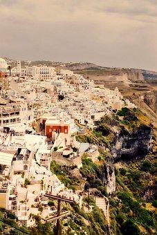 Fira, Greece, City, Urban, Town, Vacation, Holiday