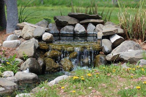 Fountain, Waterfall, Water, Garden