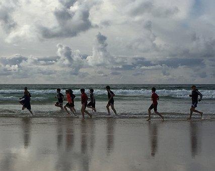 Beach, Running, Fitness
