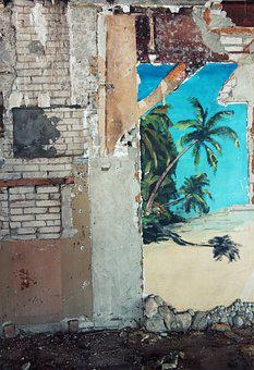 Decay, Ruin, Lapsed, Leave, Destruction, Wall Painting