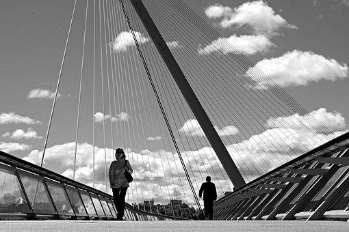 People, Perspective, Bridge, Silhouette, City, Light
