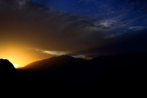 Mountain, Light, Sunset, Cloud, Wallpaper, Twilight