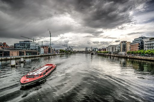 Liffey, River, Dublin, Ireland, Hdr, Architecture