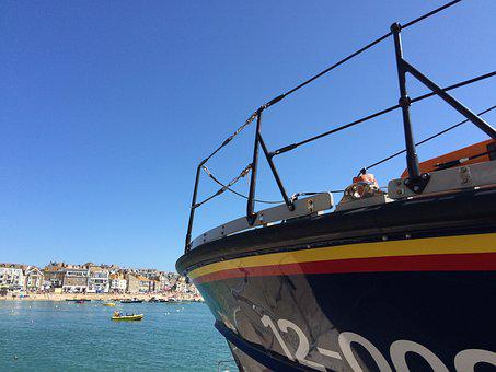 Lifeboat, Cornwall, Harbour, Uk, Ocean, Coastline