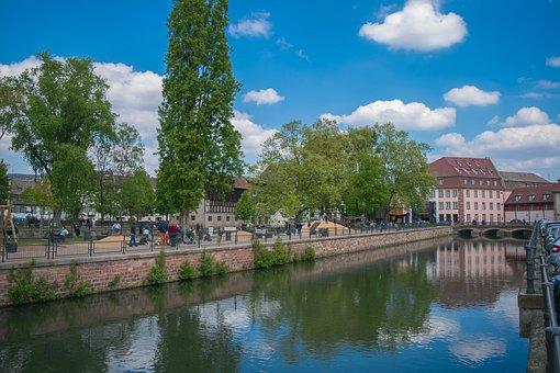 France, Tree, Water, River, Sky, Blue, Strasbourg