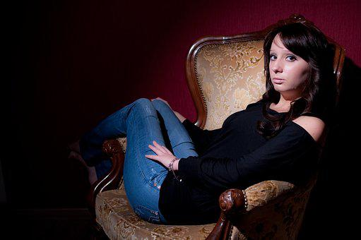 Fashion, Young Woman, Female, Jeans, Chair, Retro