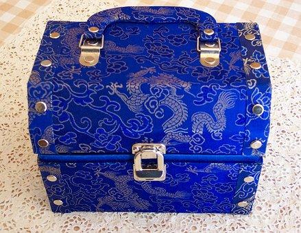 Box, Jewelery, Blue, Chest, Treasure, Royal, Satin