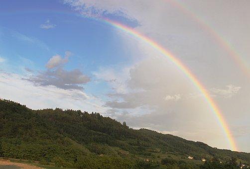 Rainbow, Fog, Cloudless Sky, Double Rainbow, Blue
