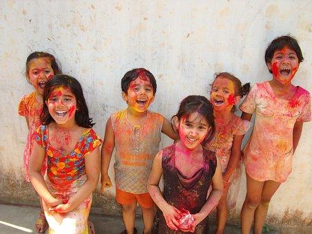 Holi, India, Children, Color, Culture, Tradition