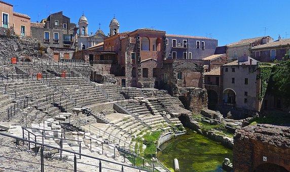 Catania, Teatro, Romano, Roman Theatre, Italy, Monument