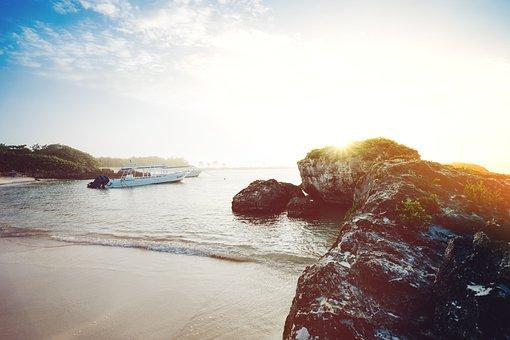 Ocean, Boats, Beach, Coast, Rocks, Sky, Skies, Water