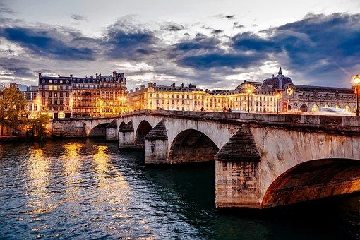 Paris, France, City, Urban, Bridge, Buildings