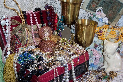 Victorian, Treasure, Chest, Goblets, Jewels, Vintage
