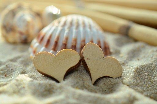 Sand, Heart, Wood, Mussels, Beach, Symbol, Love