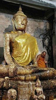 Temple, Buddha, Monk, Buddhist, Gold, Leaf, Bangkok