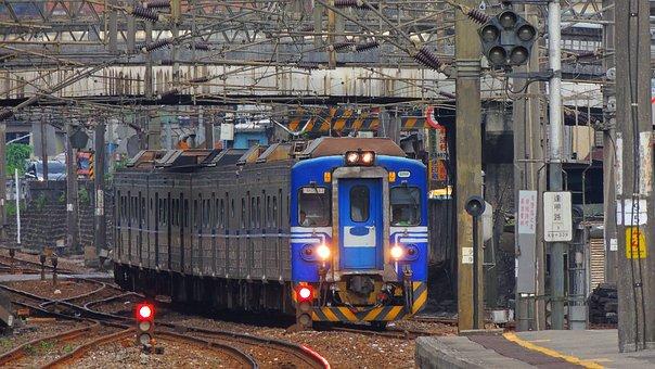 Taipei, Train, Taiwan, Railway, Railroad, Rail, Scene