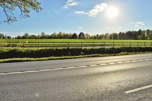 Drive, Road, Fence, Summer, Solar, Sunlight