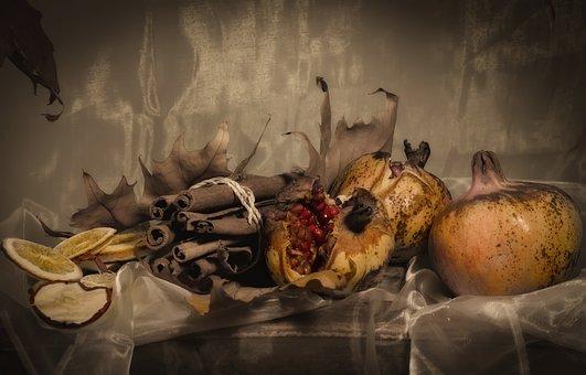 Still Life, Pomegranate, Dried Fruit, Autumn