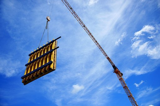 Construction, Crane, Blue, Yellow, Worker, High, Heavy