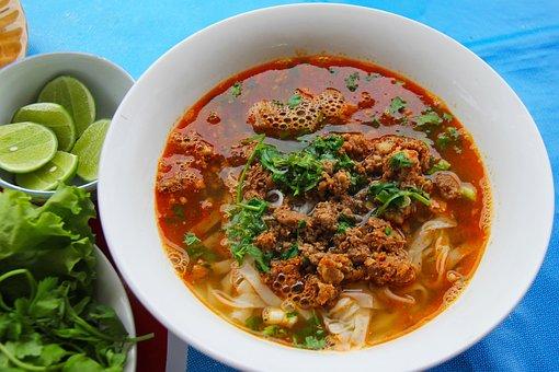 Noodle, Lao Food, Minced Pork, Chilli, Limes