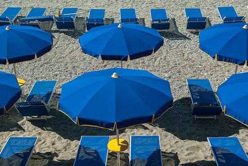 Beach, Parasols, Sun Loungers, Holiday
